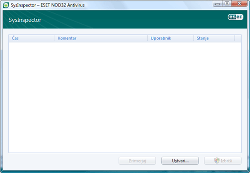 Nod32 ea sysinspector window ESET SysInspector – novo okno