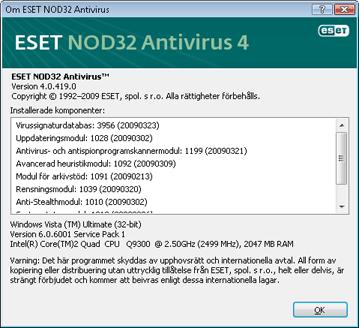 Nod32 ea about Om ESET NOD32 Antivirus
