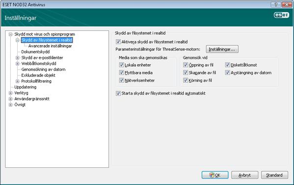 Nod32 ea config amon Skydd av filsystemet i realtid