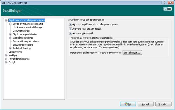 Nod32 ea config antivirus Inställning av skydd mot virus och spionprogram