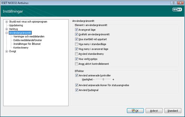 Nod32 ea config environment Användargränssnitt