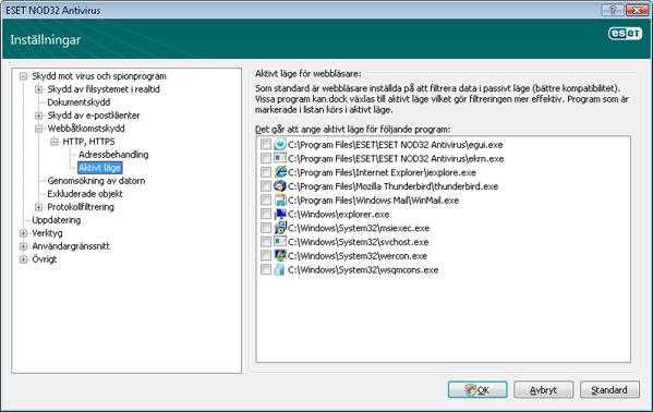 Nod32 ea config epfw browsers Webbläsare