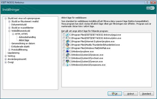 Nod32 ea config epfw browsers mode Aktivt läge för webbläsare