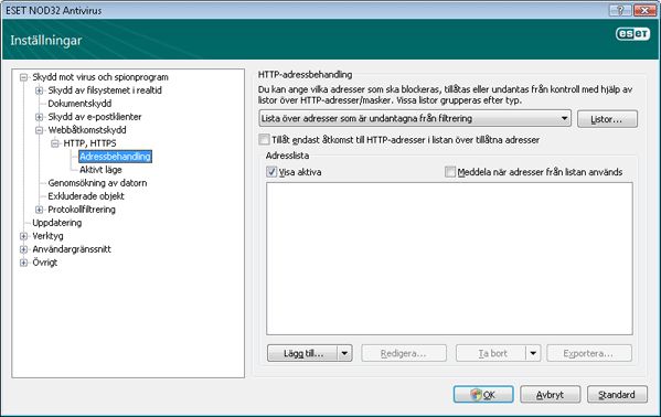 Nod32 ea config epfw scan http excludelist HTTP adressbehandling