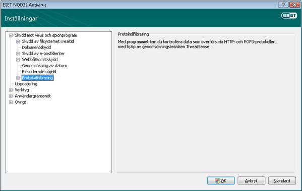 Nod32 ea config epfw scan main page Protokollfiltrering
