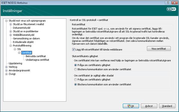 Nod32 ea config epfw ssl cert set Certifikat