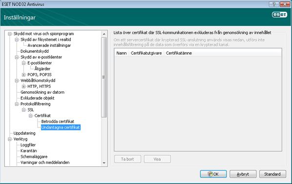 Nod32 ea config epfw ssl exclude Undantagna certifikat