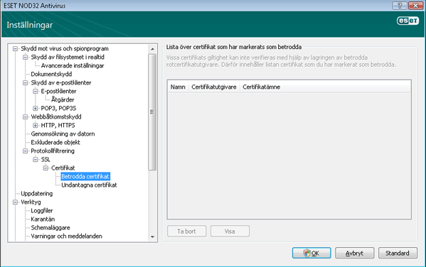 Nod32 ea config epfw ssl trusted Betrodda certifikat