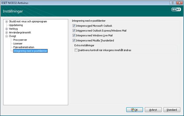 Nod32 ea config mailplugins Integrering med e postklienter
