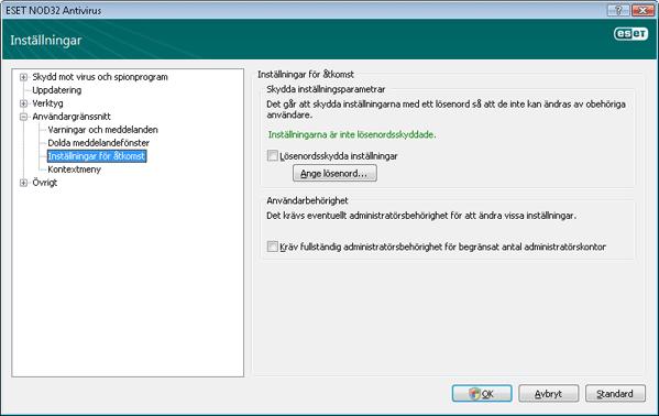 Nod32 ea config password Inställningsskydd