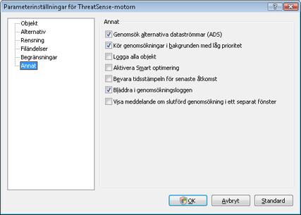Nod32 ea config scanner scan Inställningar för genomsökning