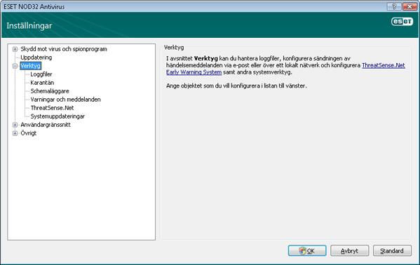 Nod32 ea config tools Verktyg