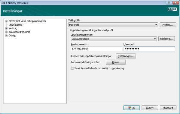 Nod32 ea config update source Inställning av uppdateringar
