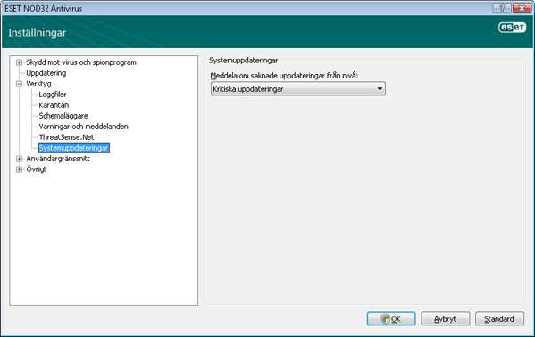 Nod32 ea config windows update Uppdateringar för operativsystemet – inställningar