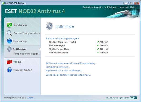 Nod32 ea page advanced settings Inställningar   Avancerat läge