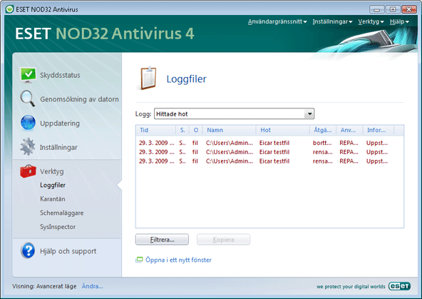 Nod32 ea page logs Loggfiler