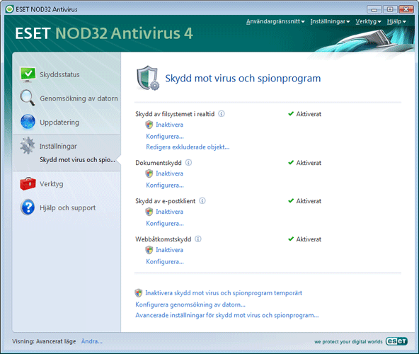 Nod32 ea page settings antivirus Inställningar   Avancerat läge