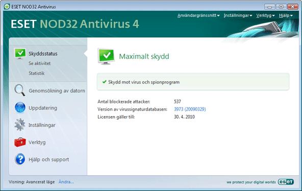 Nod32 ea page status Skyddsstatus