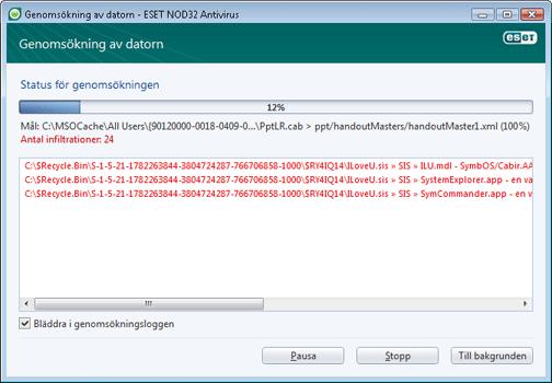 Nod32 ea scan window Genomsökning av datorn   fönster