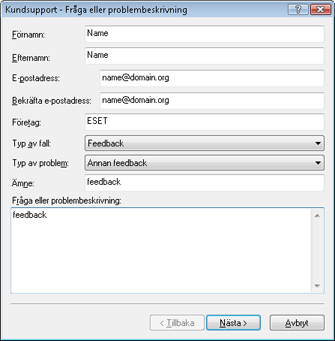 Nod32 ea support request Felsökning