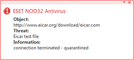 Nod32 ea antivirus behavior and user interaction การทำงานของการป้องกันไวรัสและการดำเนินการของผู้ใช้