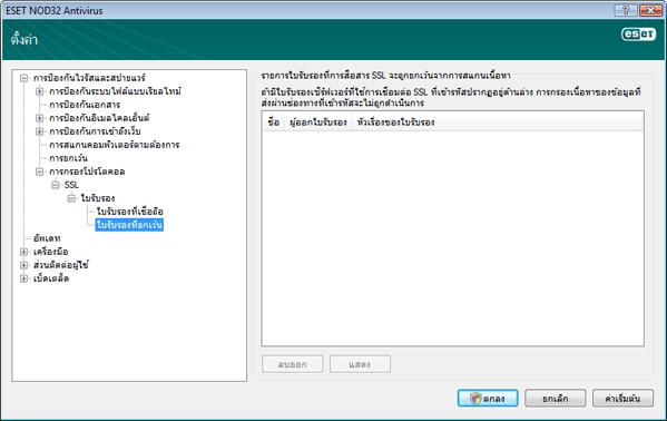 Nod32 ea config epfw ssl exclude ใบรับรองที่ยกเว้น