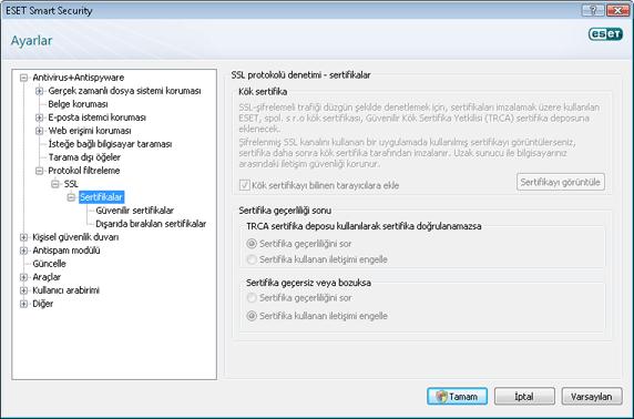 Nod32 config epfw ssl cert set Sertifikalar