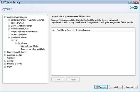 Nod32 config epfw ssl trusted Güvenilir sertifikalar