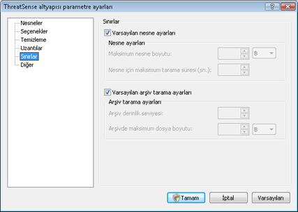 Nod32 config limit Sınırlar