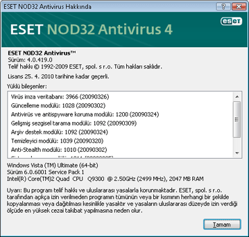 Nod32 ea about ESET NOD32 Antivirus Hakkında