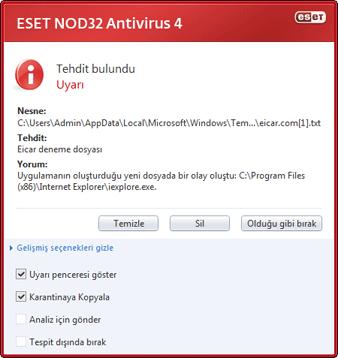 Nod32 ea antivirus behavior and user interaction 01 Sızıntı algılandı
