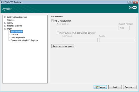 Nod32 ea config connection Proxy sunucu