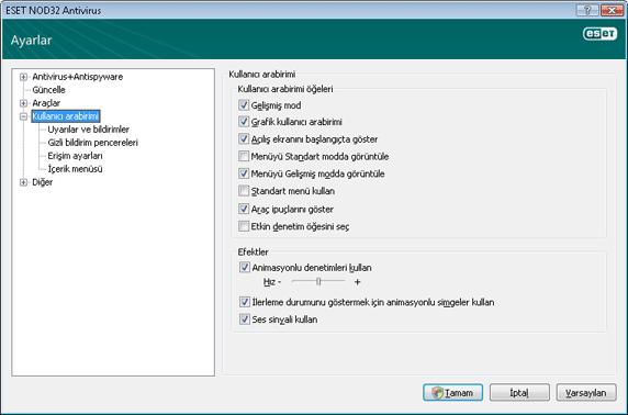 Nod32 ea config environment Kullanıcı arabirimi