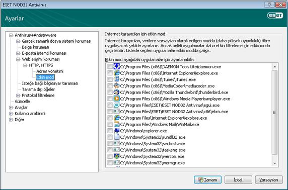 Nod32 ea config epfw browsers mode Internet tarayıcıları için etkin mod