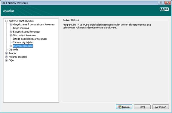 Nod32 ea config epfw scan main page Protokol filtresi
