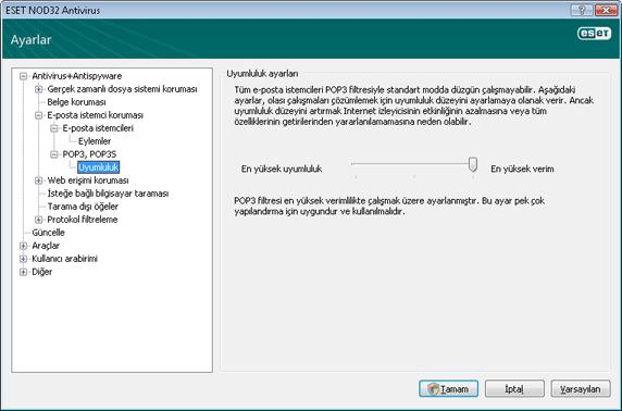 Nod32 ea config epfw scan pop3 comp Uyumluluk