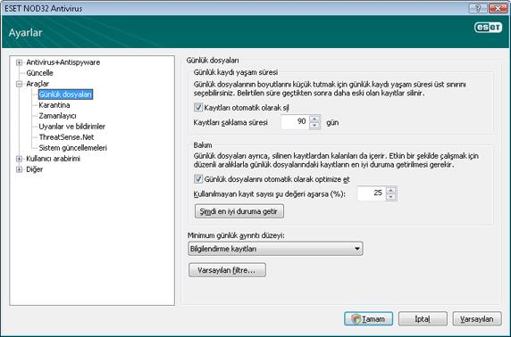 Nod32 ea config logs Günlük dosyaları