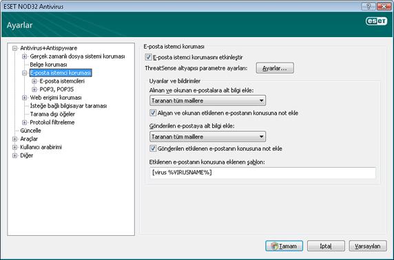 Nod32 ea config mail E posta istemci koruması