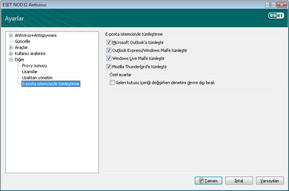 Nod32 ea config mailplugins Posta istemcisi tümleştirmesi