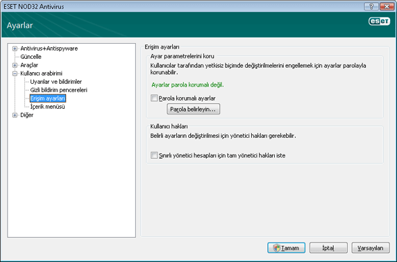 Nod32 ea config password Ayar koruması