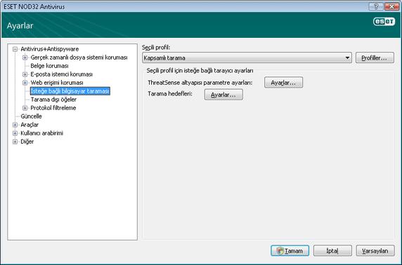 Nod32 ea config scan İsteğe bağlı bilgisayar taraması