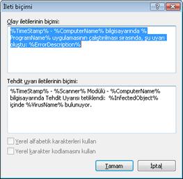 Nod32 ea format notice İleti biçimi