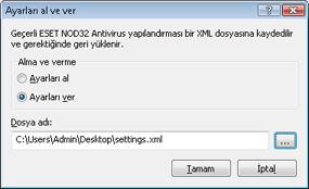 Nod32 ea importexport config Ayarları al ve ver