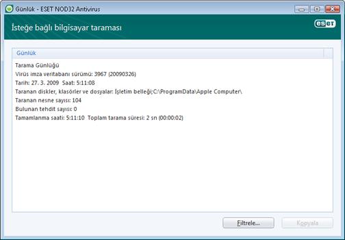 Nod32 ea log window Günlük dosyaları   yeni pencere