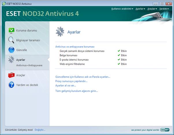 Nod32 ea page advanced settings Kullanıcı arabirimi tasarımına giriş