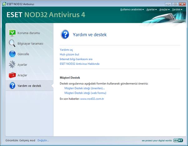 Nod32 ea page help Yardım ve destek