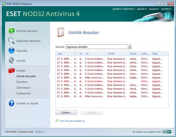 Nod32 ea page logs Günlük dosyaları