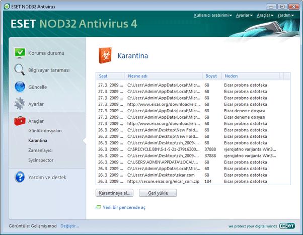 Nod32 ea page quarantine Karantina