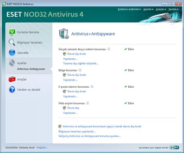 Nod32 ea page settings antivirus Virüsten koruma kurulumu