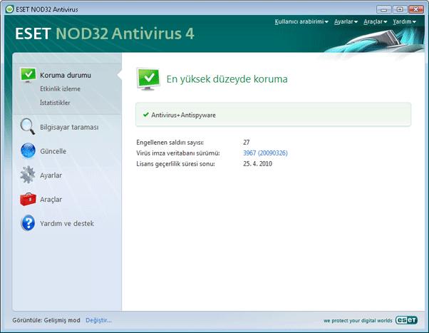 Nod32 ea page status Koruma durumu